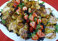 Deliecious Display of Grilled Chicken, Scallops, Pineapple on Greens