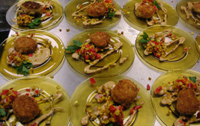 Crab Cakes with Remolaude and Corn Salsa Made in Steak and Cake Cooking Class